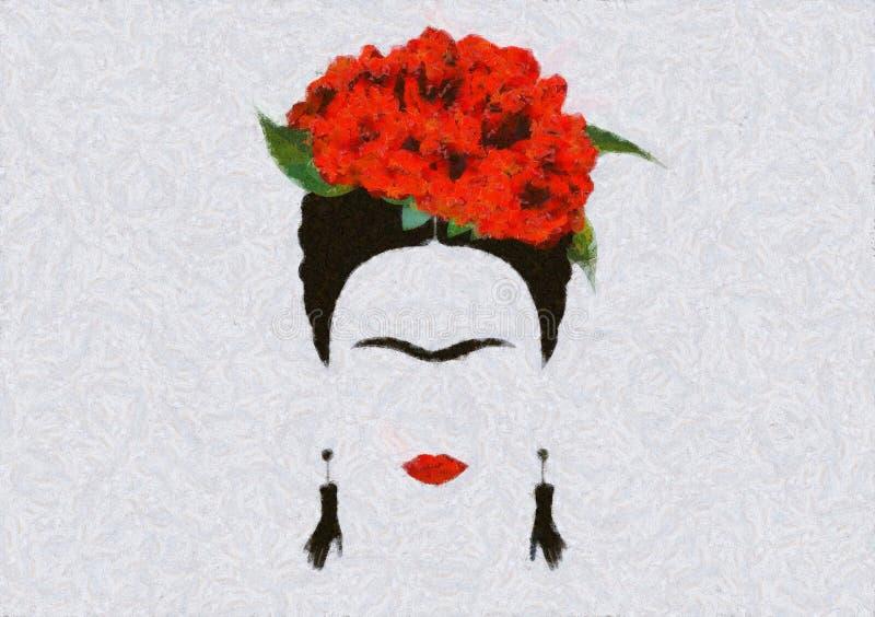 Portret Fridy Kahlo, ilustracja, portret współczesnej meksykańskiej lub hiszpańskiej kobiety, styl rysowania obrazy royalty free