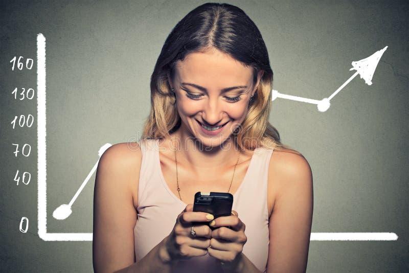 Portret gelukkige vrouw die haar slimme telefoon met behulp van stock foto's