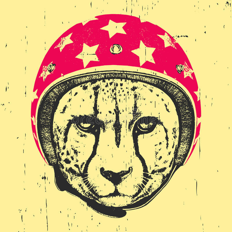 Portret gepard z hełmem ilustracja wektor
