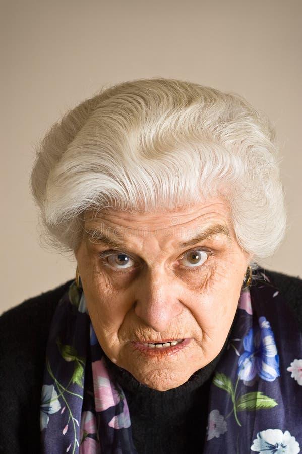portret gniewna dojrzała kobieta fotografia stock