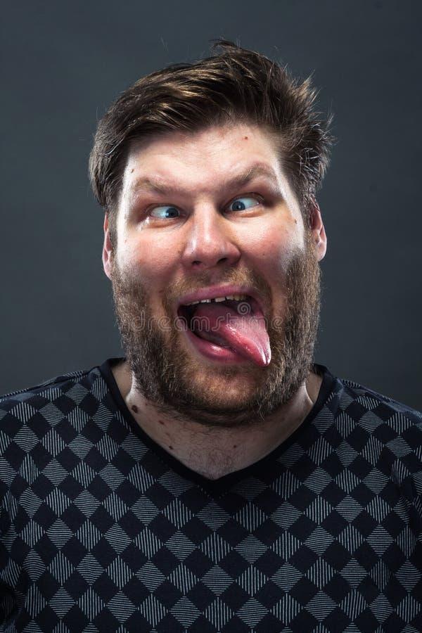Portret grimacing mężczyzna obraz stock