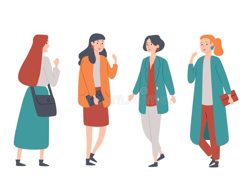 Portret grupa cztery młodej kobiety stoi wpólnie Żeńskich uczni, przyjaciele, koledzy ilustracja wektor