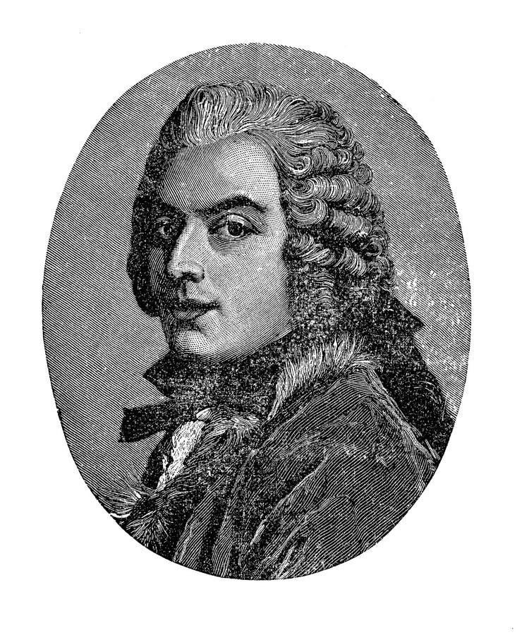 Portret Hrabiowski Francesco Algarotti Wenecki filozof royalty ilustracja