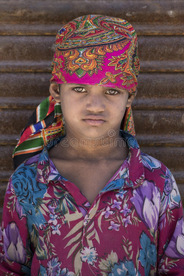 Portret Indisch meisje Srinagar, Kashmir, India Sluit omhoog royalty-vrije stock afbeelding