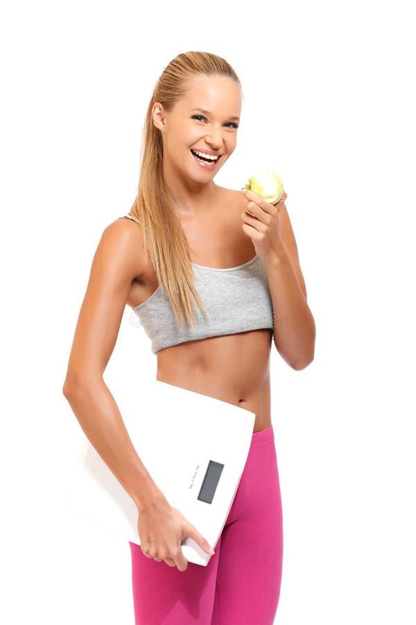 Portret jabłko kobieta z jabłkiem obraz royalty free