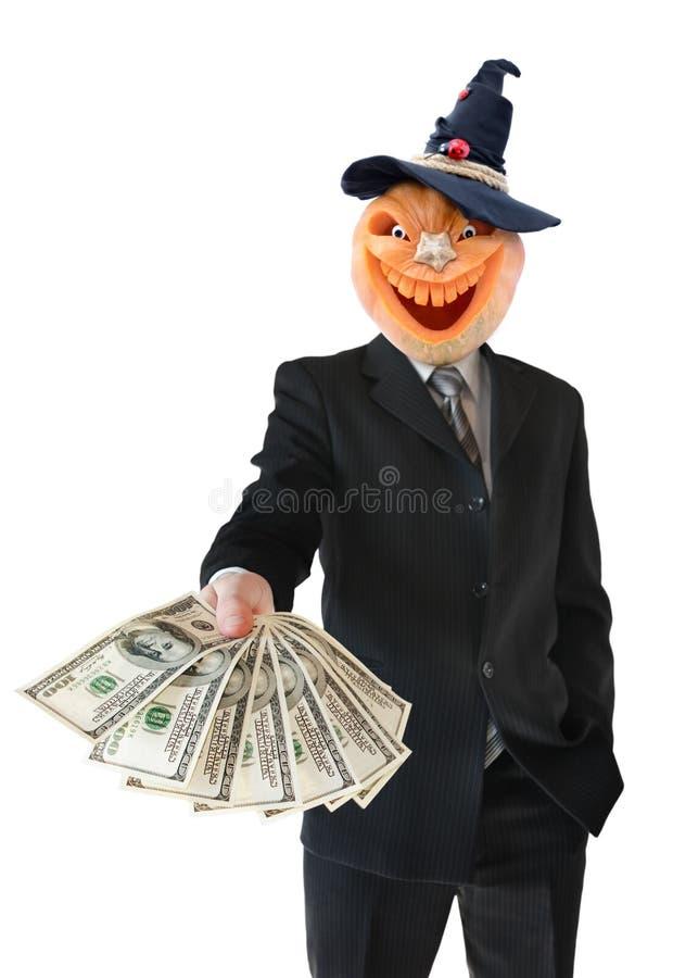 Portret Jack lampion od bani w czarnym garniturze Jack lampion utrzymuje pieniądze w jego rękach Bania dla Halloween rzeźbił obrazy royalty free
