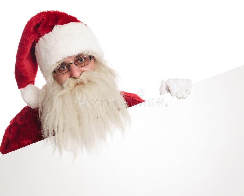 Portret jest ubranym białe rękawiczki trzyma pustą deskę szczęśliwy Santa fotografia royalty free