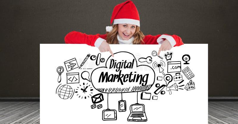 Portret jest ubranym Santa kapelusz pokazuje cyfrowe marketingowe ikony na plakacie szczęśliwa kobieta ilustracja wektor