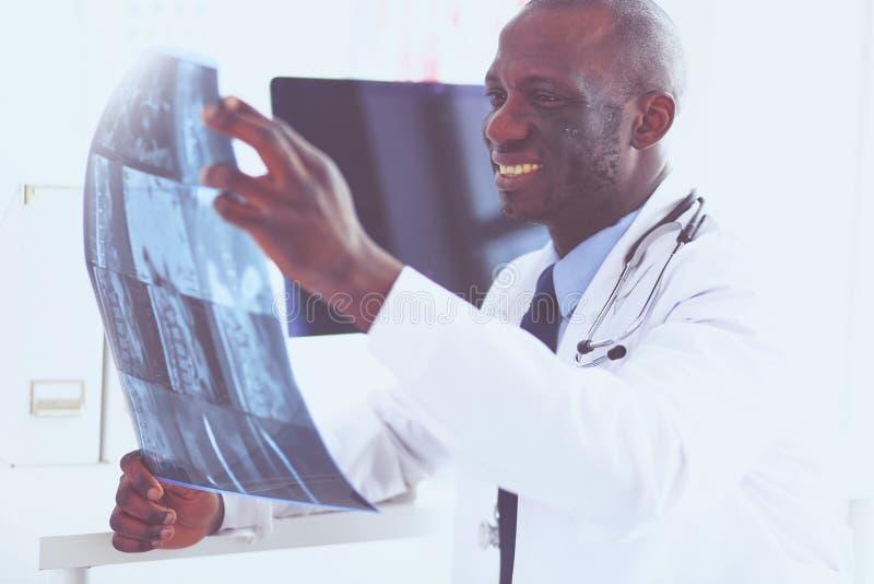 Portret jonge Afrikaanse medische arts die de geduldige röntgenstraal van ` houden s stock afbeeldingen