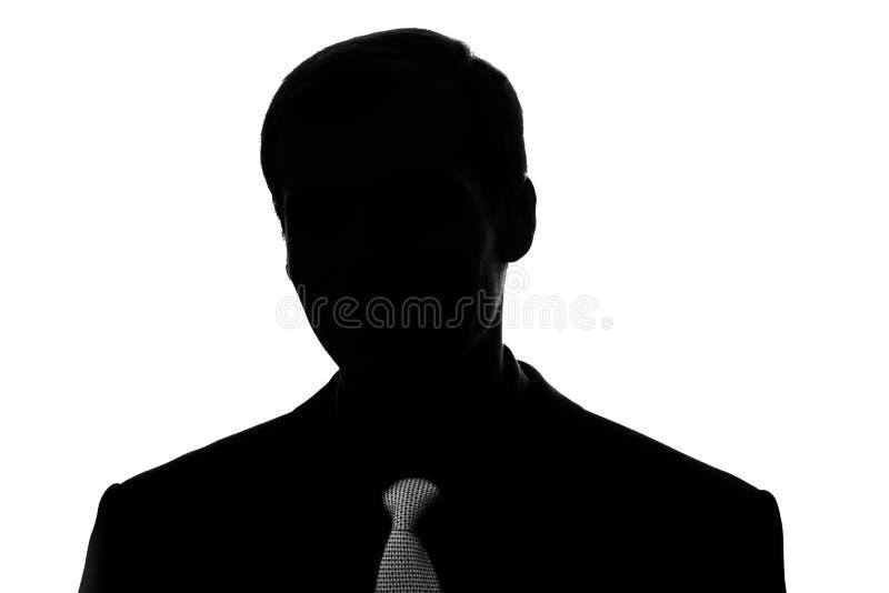 Portret jonge mens in kostuum, band in silhouet - vooraanzicht royalty-vrije stock foto's