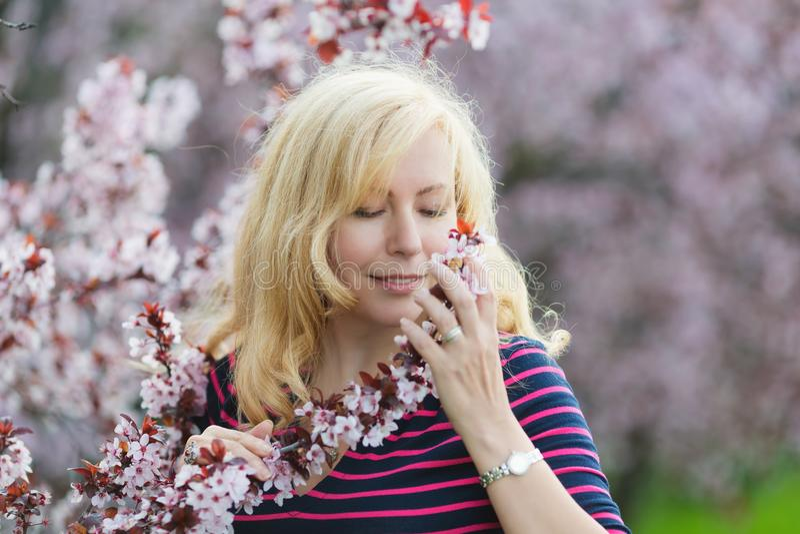 Portret Kaukaska kobieta z blondynu pobliskim kwitnie czereśniowym drzewem, patrzeje kamera obrazy royalty free