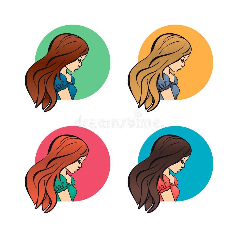Portret kobiet dziewczyny, lateral twarz profil i ramion avatars, ustawiają odosobnione wektorowe ilustracyjne kreskówki mieszkan ilustracja wektor