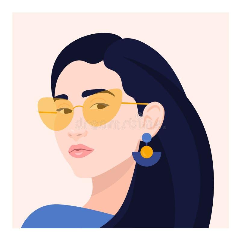 Portret kobieta Głowa dziewczyna avatars również zwrócić corel ilustracji wektora zdjęcia stock