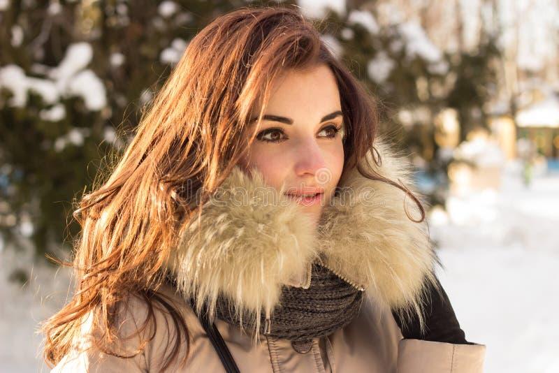 Portret kobieta i zima obrazy stock