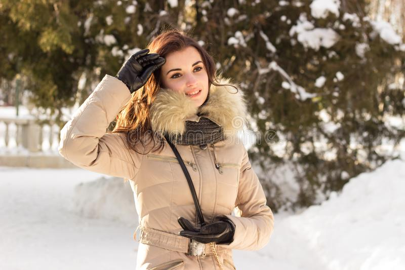 Portret kobieta i zima fotografia stock