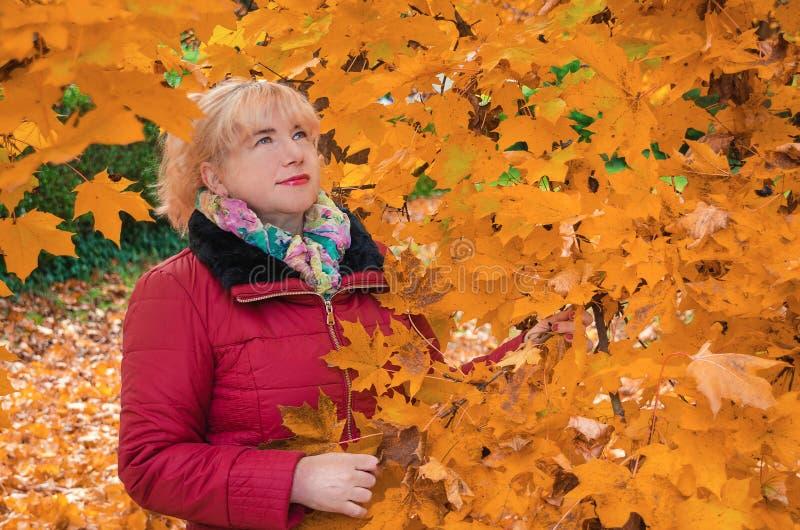 Portret kobieta przy jesień liśćmi zdjęcie royalty free
