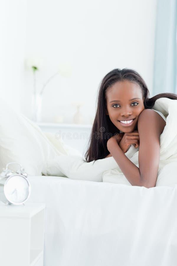 Portret Kobieta Target228_0_ Budzić Się Zdjęcie Royalty Free