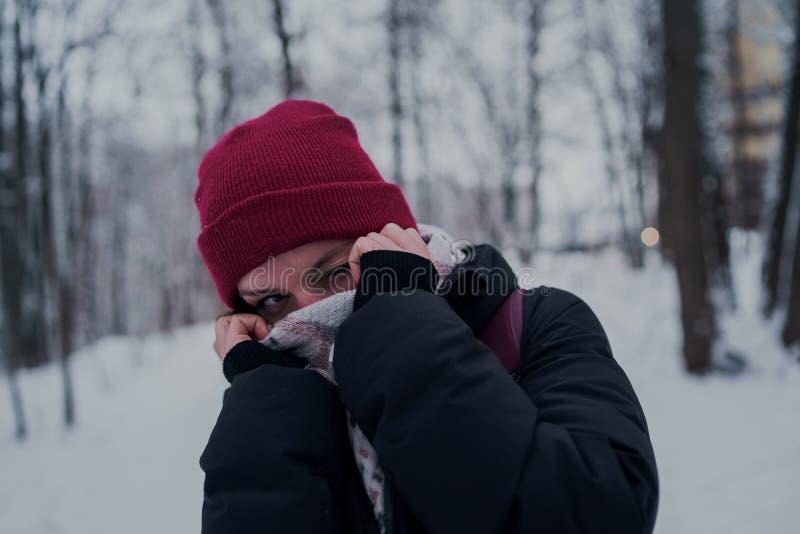Portret kobieta w ciep?ym odziewa w zimie zdjęcie stock