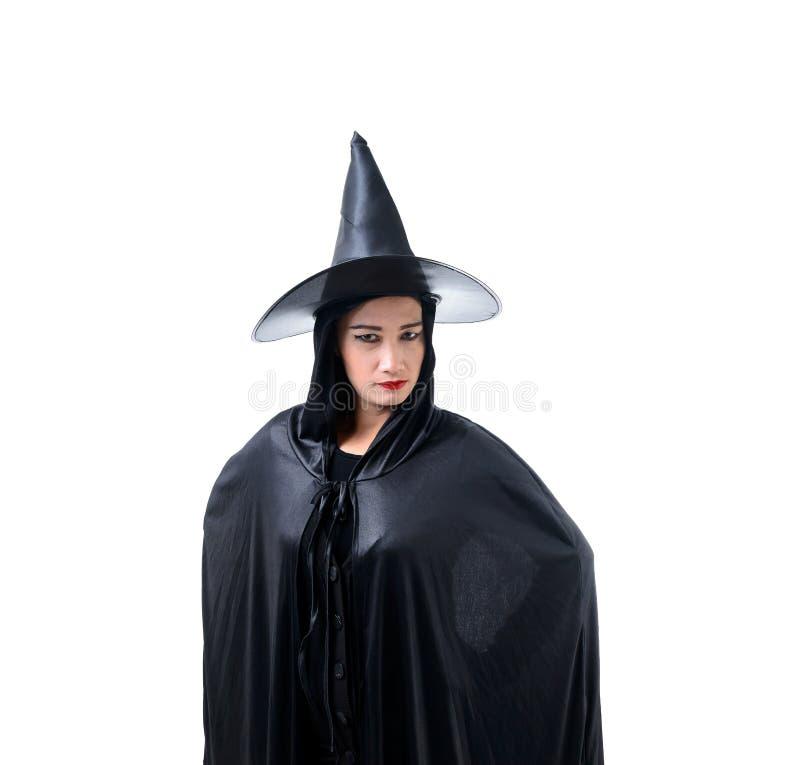 Portret kobieta w czarnym Strasznym czarownicy Halloween kostiumu dublerze obraz royalty free