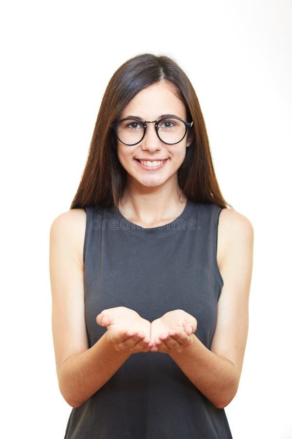 Portret kobieta w szkłach Biały tło Chwyt ręki obrazy stock