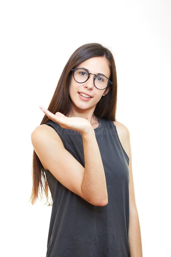 Portret kobieta w szkłach Biały tło Chwyt ręki zdjęcia stock