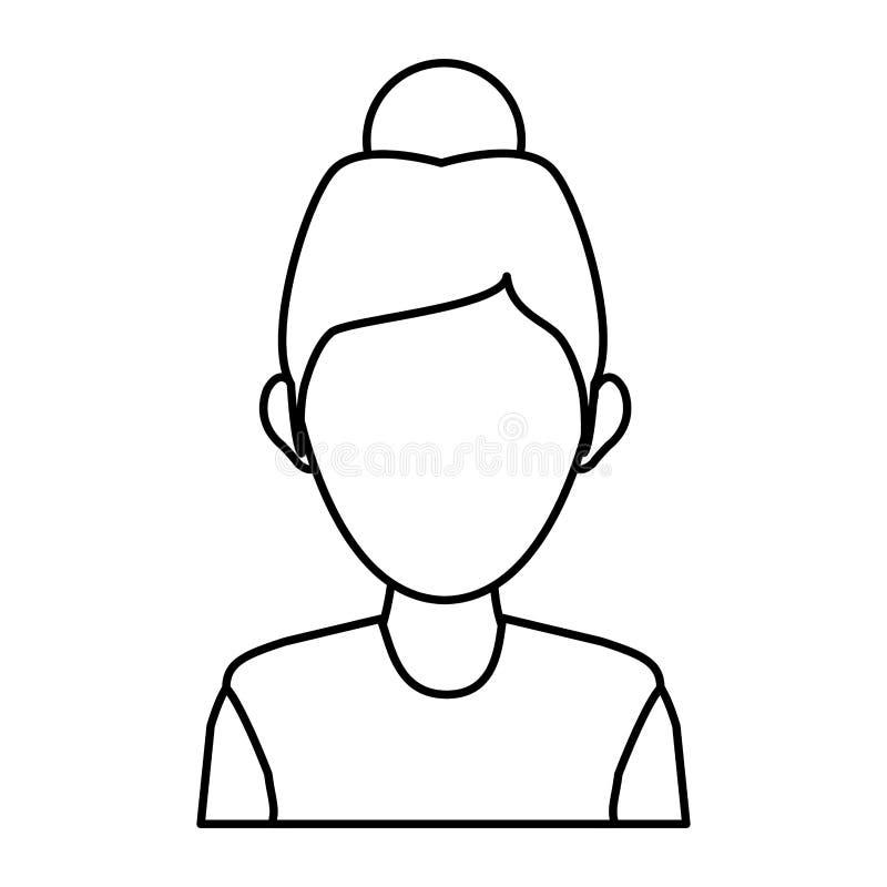 Portret kobiety charakteru avatar pracownika konturu ikona ilustracji