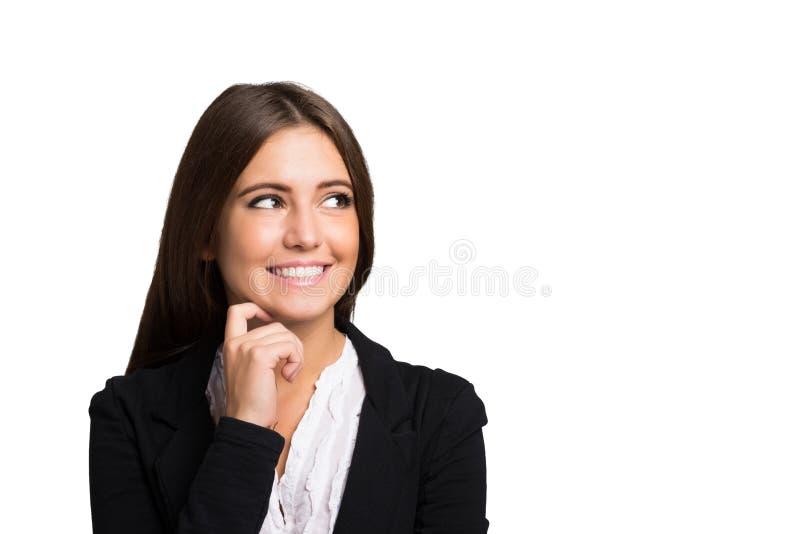 portret kobiety uśmiechnięta Odizolowywający na bielu obraz royalty free