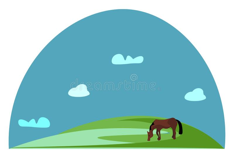 Portret konia brunatnego wypasanego na zielonych użytkach zielonych wektor lub kolorowa ilustracja ilustracja wektor