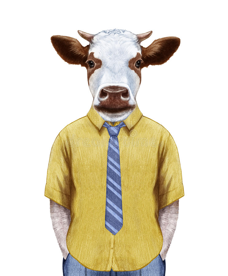 Portret krowa w lato koszula z krawatem ilustracja wektor