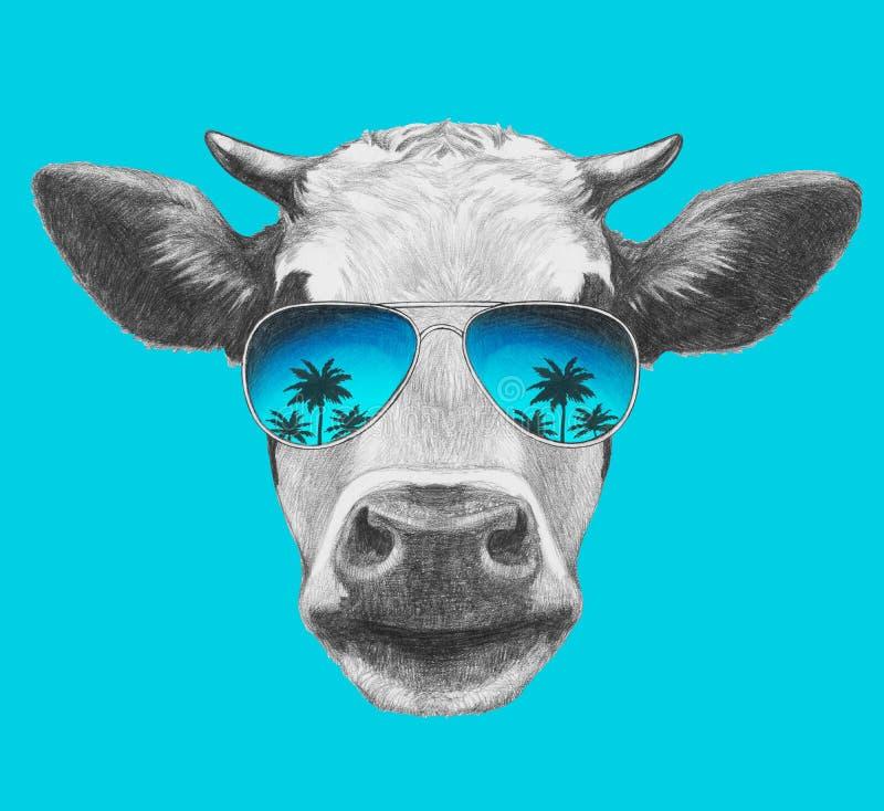 Portret krowa z lustrzanymi okularami przeciwsłonecznymi royalty ilustracja