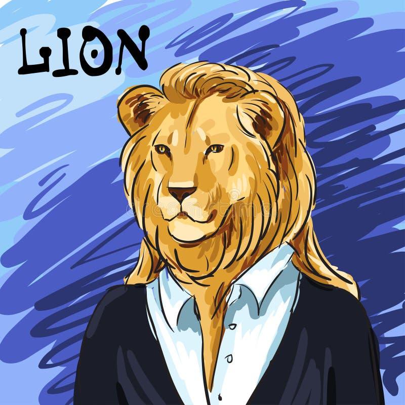 Portret lider Piękny lew w kostiumu pociągany ręcznie Indywidualna korporacyjna tożsamość Ja może używać jako pocztówka ilustracji