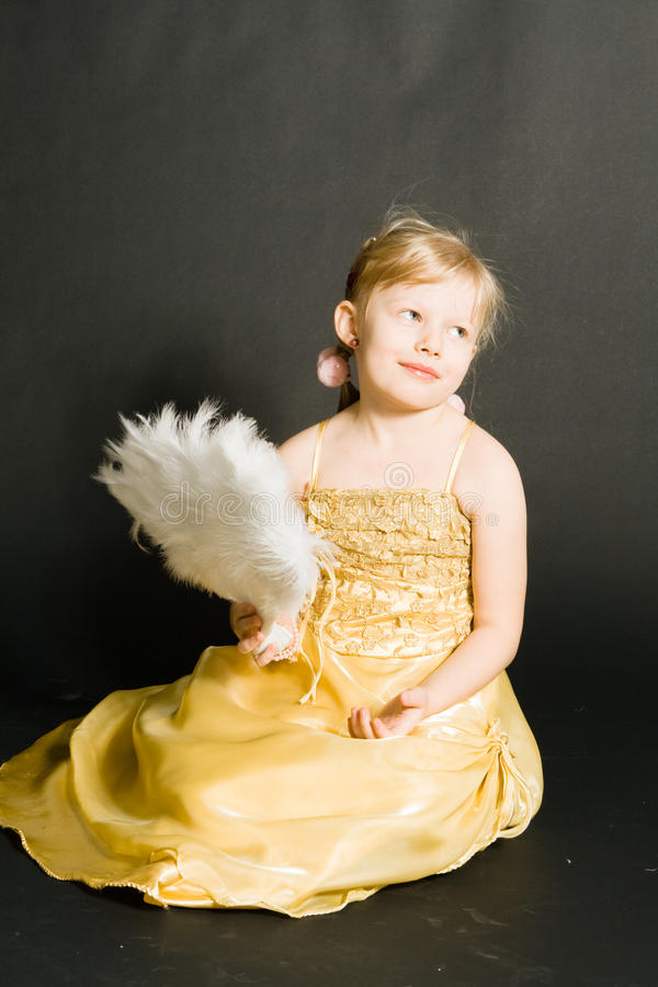 Portret Of Little Girl In Yellow Dress Stock Image