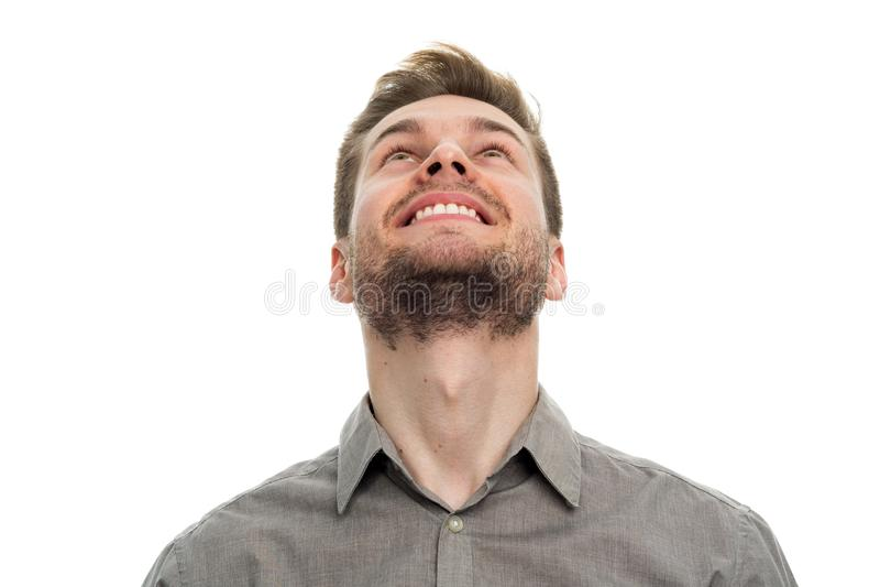 Portret młodego człowieka przyglądający up obraz stock