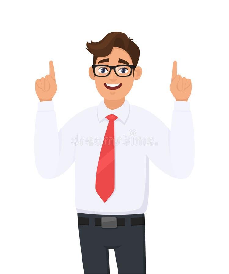 Portret młody szczęśliwy biznesmen wskazuje ręka palce wskazujących w górę, pojęcie reklama produkt, przedstawia coś ilustracja wektor