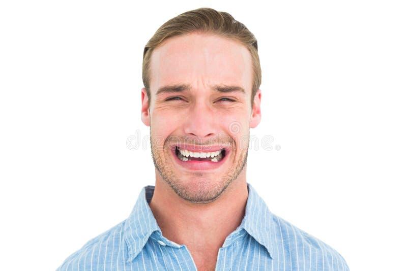 Portret mężczyzna przystojny płacz obraz royalty free