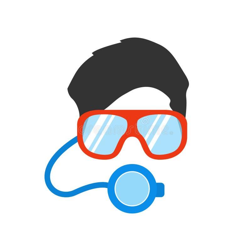 Portret mężczyzna w masce i szkła dla podwodnego dopłynięcia ilustracji