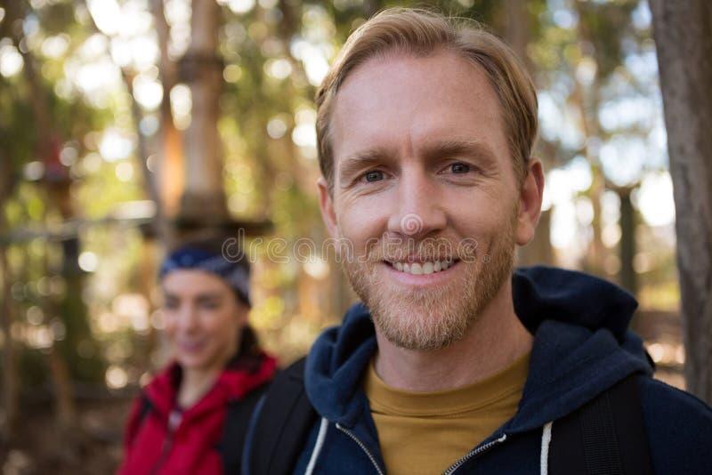 Portret mężczyzna z brody ono uśmiecha się zdjęcie stock