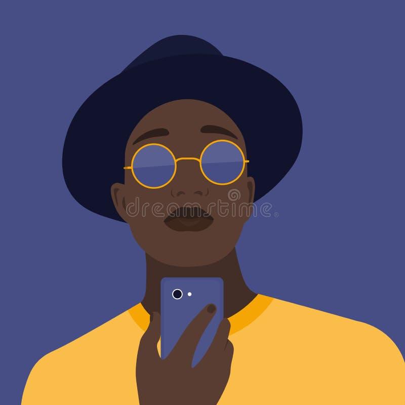 Portret mężczyzna z telefonem Nałóg na smartphone Wektorowa płaska ilustracja zdjęcia royalty free