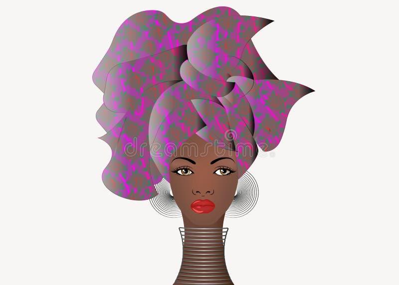 Portret młoda Afrykańska kobieta w kolorowym turbanie Opakunku Afro moda, Ankara, Kente, kitenge, Afrykańskie kobiety ubiera ilustracji