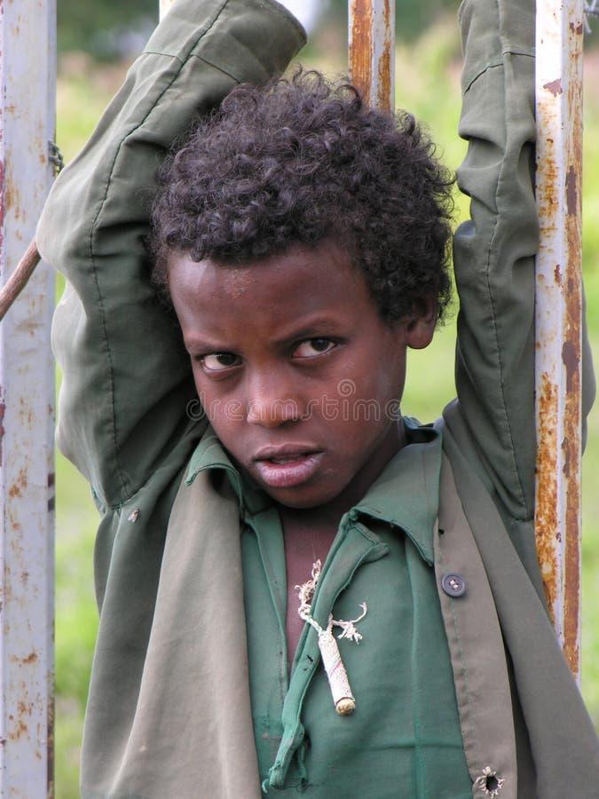 Portret młoda Amhara chłopiec, Addis Beta chrześcijanin, Etiopia obraz royalty free