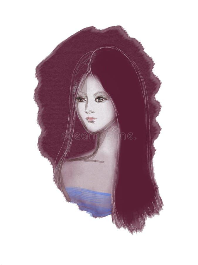 Portret młoda dama na fiołkowym tle rysującym akwarelą i ołówkiem ilustracja wektor