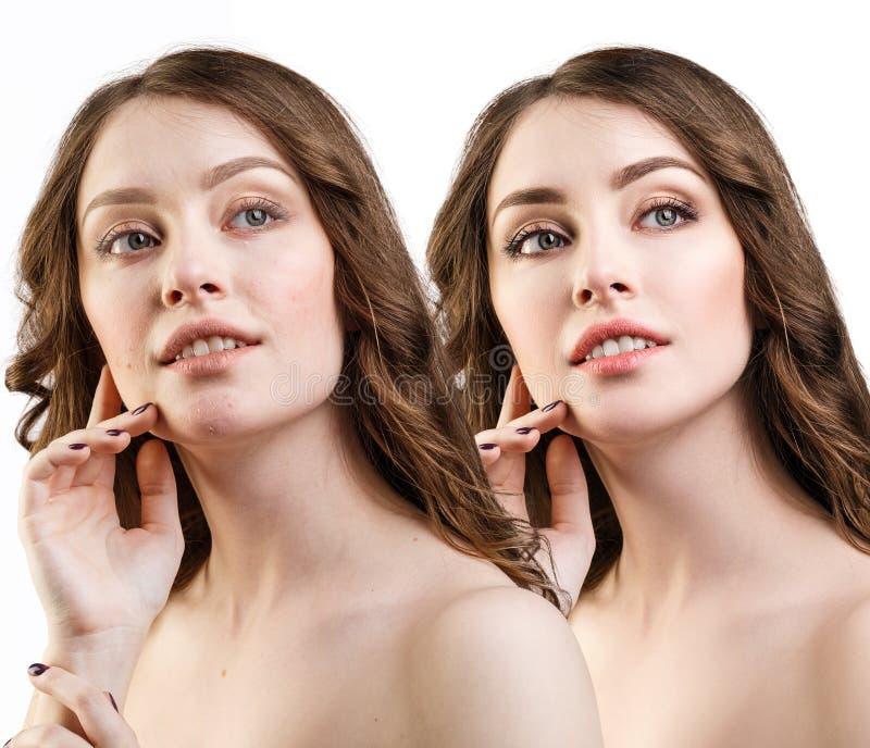 Portret młoda dziewczyna z i bez makeup fotografia royalty free