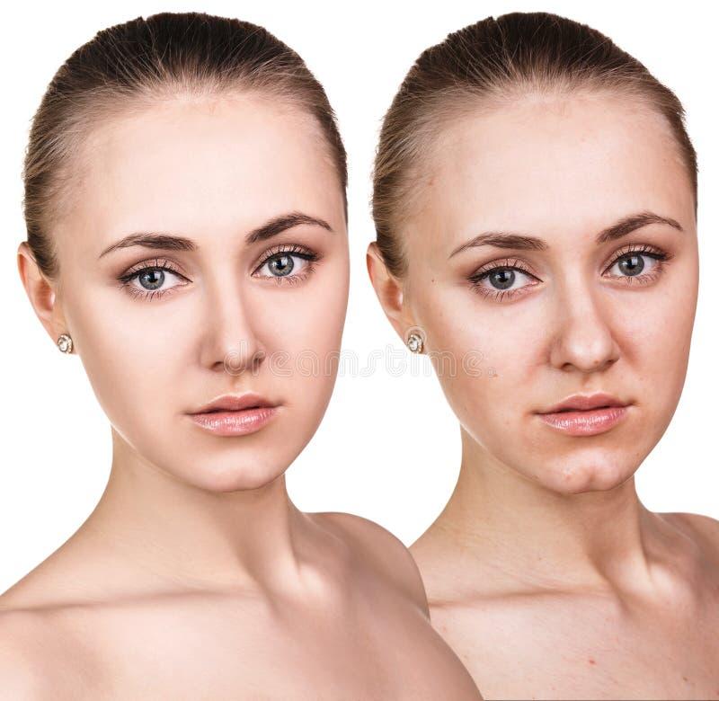 Portret młoda dziewczyna z i bez makeup obraz stock