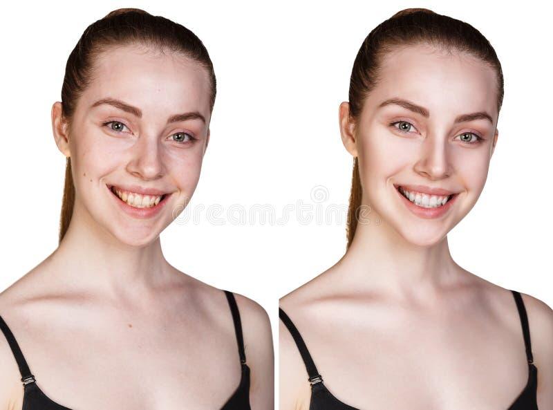 Portret młoda dziewczyna z i bez makeup zdjęcia stock