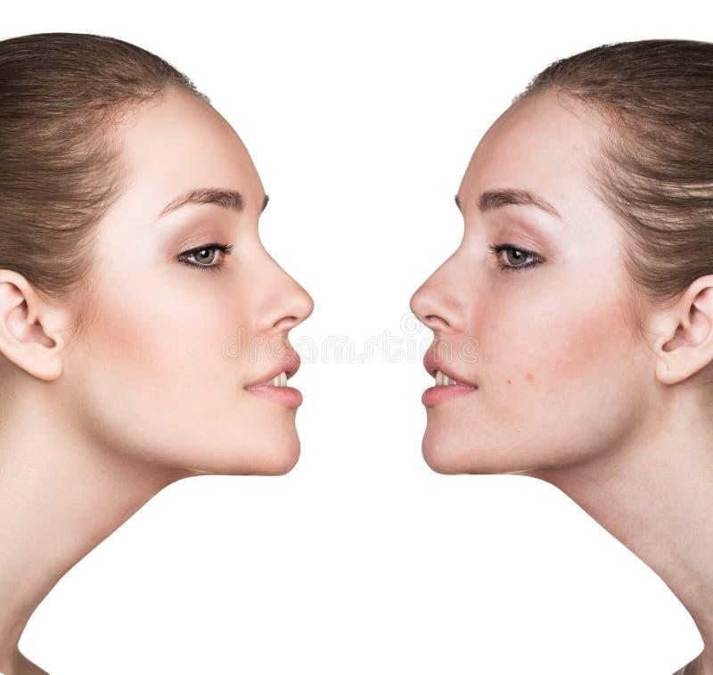 Portret młoda dziewczyna z i bez makeup obrazy stock