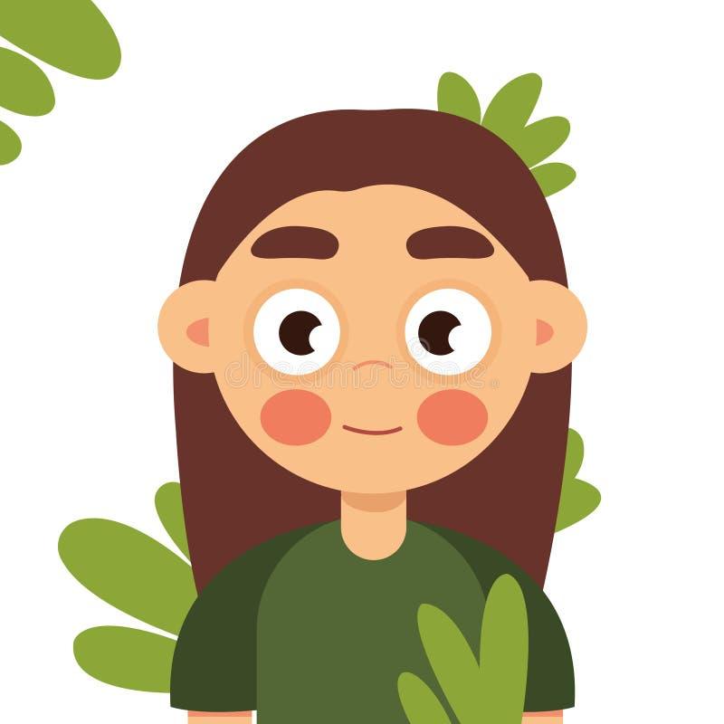 Portret młoda i piękna kobieta z doskonalić gładką skórą w tropikalnych liściach Pojęcie naturalni kosmetyki i royalty ilustracja
