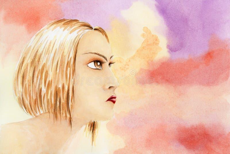 Portret młoda kobieta nad fantazi akwareli tłem ilustracja wektor