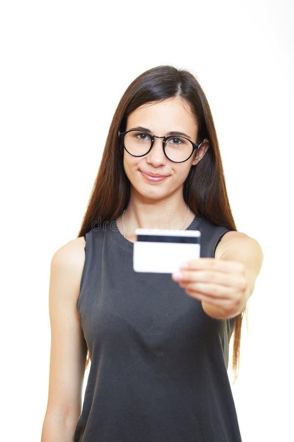 Portret młoda kobieta w szkłach nad białym tłem h zdjęcia royalty free