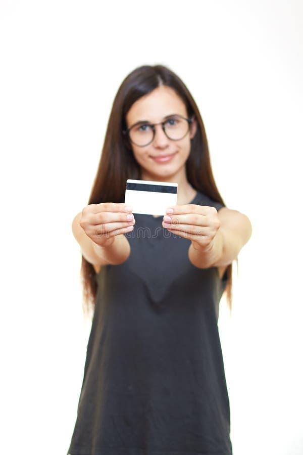 Portret młoda kobieta w szkłach odizolowywających nad białym tłem h zdjęcie stock