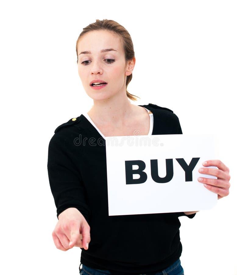 Portret młoda kobieta z deskowym zakupem zdjęcia royalty free